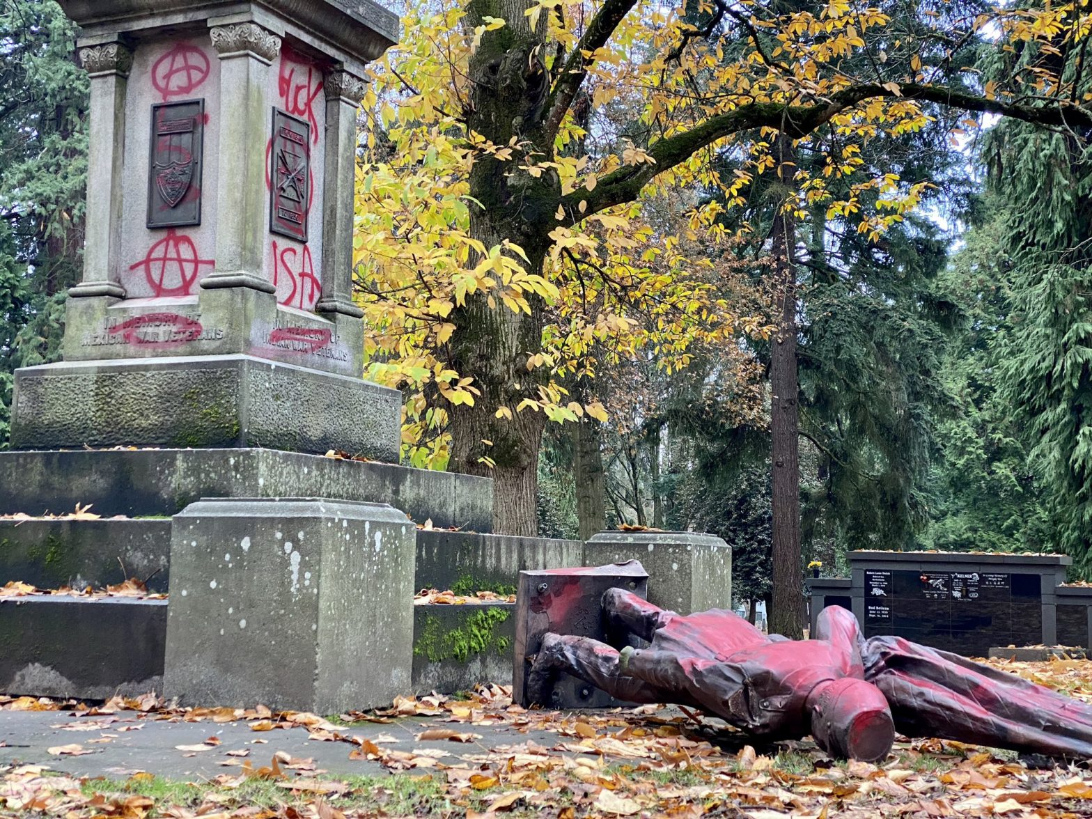 Colonizer statue toppled and covered with red paint