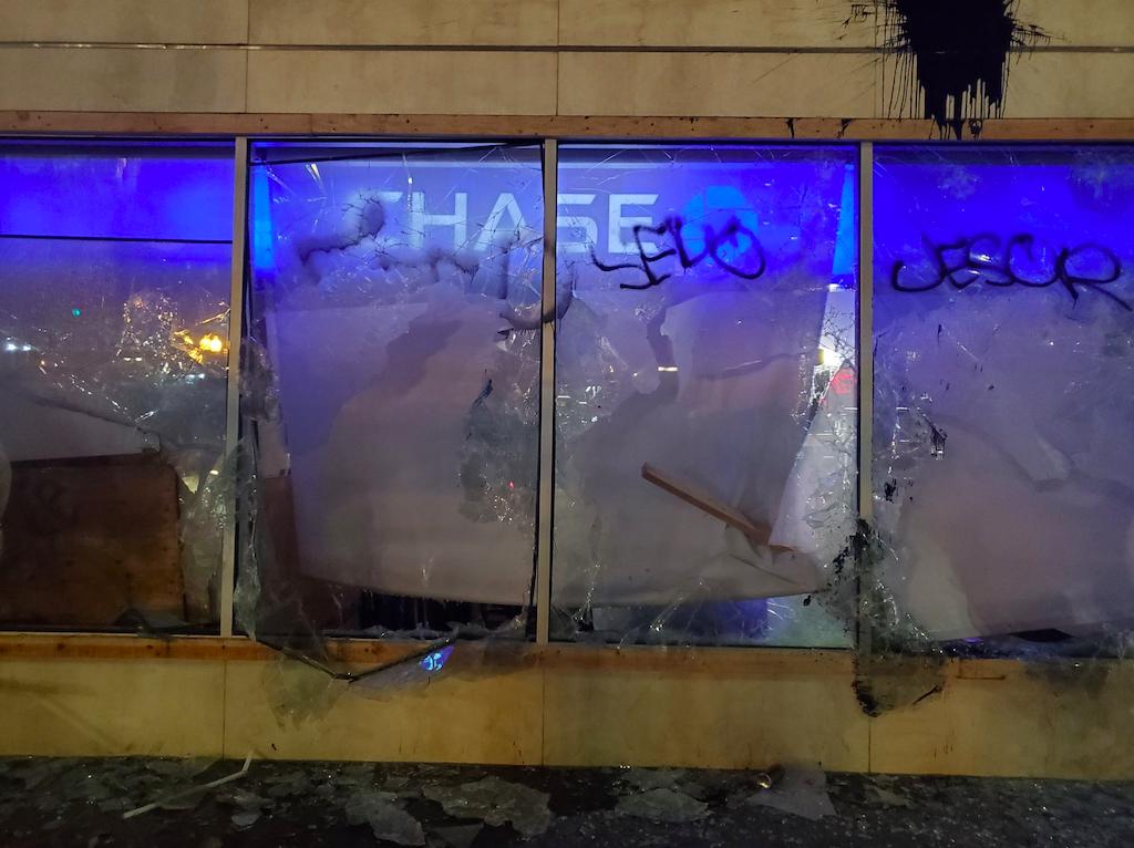 chase bank windows broken