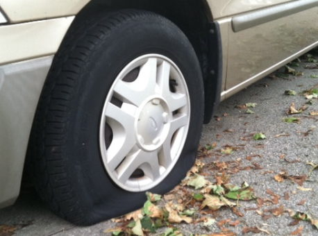 a deflated car tire